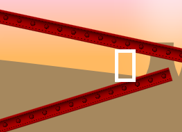 Figure 1. The crush/wedge problem. The player's bounding box is represented by the white rectangle. At some point as the player moves to the right, the player's top and bottom sides will both be making contact with a platform and the collision detection code will consider the player to be crushed as there is no correct resolution.