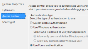 Figure 6. Configuring Forms authentication