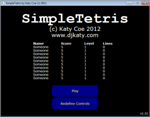 Figure 2a. The main menu in SimpleTetris before a background is added