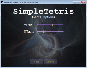 Figure 4. The game options user interface