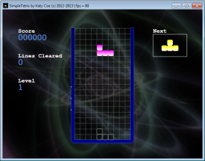 Figure 3b. The main game screen after a background is added. The background rotates at a linear speed in a continuous loop, and fades to a different background when the level changes.