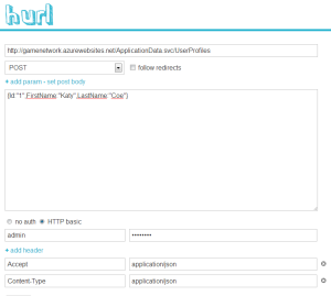 Figure 1. Using Hurl to add a row to a LightSwitch database table with JSON