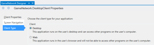 Figure 2. Setting the desktop client properties to create a Windows desktop application