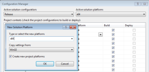 Figure 3. Adding a new target architecture to your solution in Visual Studio