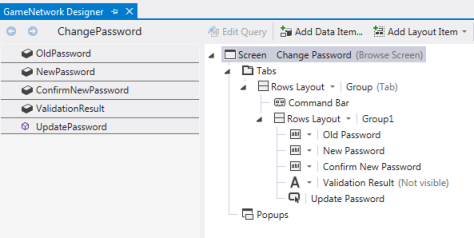 Figure 4. The ChangePassword screen designer