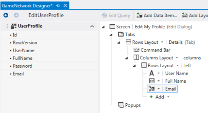 Figure 2. The Edit User Profile screen designer